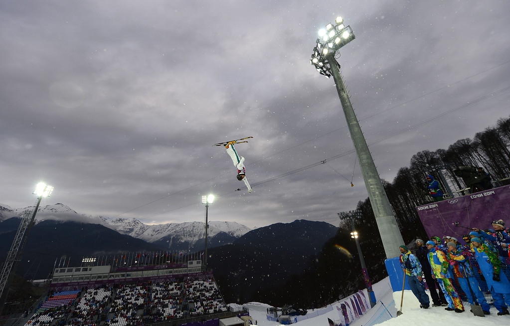 . Australia\'s David Morris competes in the Men\'s Freestyle Skiing Aerials qualifications at the Rosa Khutor Extreme Park during the Sochi Winter Olympics on February 17, 2014.      JAVIER SORIANO/AFP/Getty Images