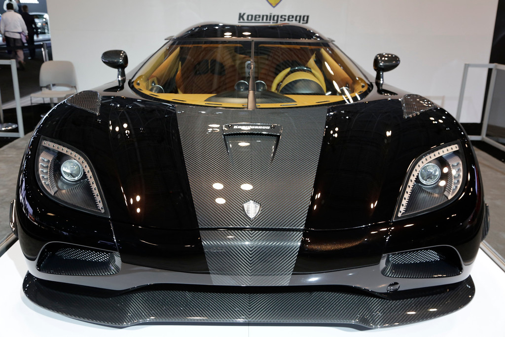 . The Koenigsegg Agera R is shown at the New York International Auto Show, Wednesday, April 16, 2014, in New York. The Swedish-made sports car has a top speed of 440 km/h (273mph). (AP Photo/Mark Lennihan)