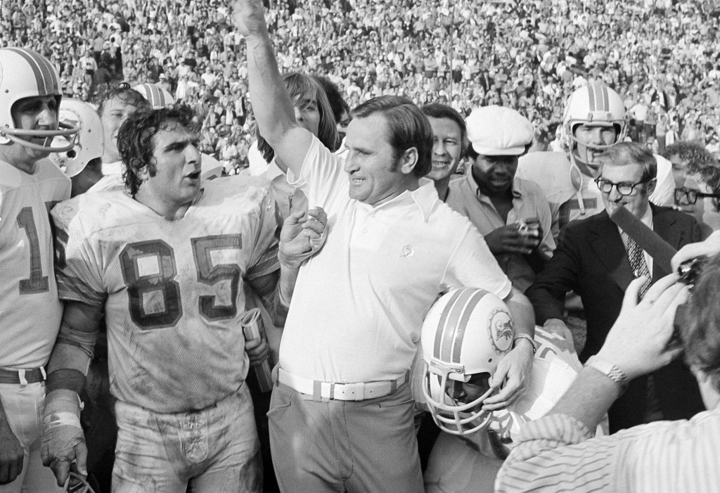 . ** FILE ** Miami Dolphins\' coach Don Shula lets out with a roar as the gun sounds to give his Dolphins a 14-7 Super Bowl victory over the Washington Redskins in Los Angeles in this Jan. 14, 1973 file photo.  Shula coached the 1972 Dolphins to a 17-0 record, still the only perfect season in NFL history. The New England Patriots can finish 19-0 if they beat the New York Giants  in Super Bowl XLII on Sunday, Feb. 3, 2008, in Glendale, Ariz.  (AP Photo/File)