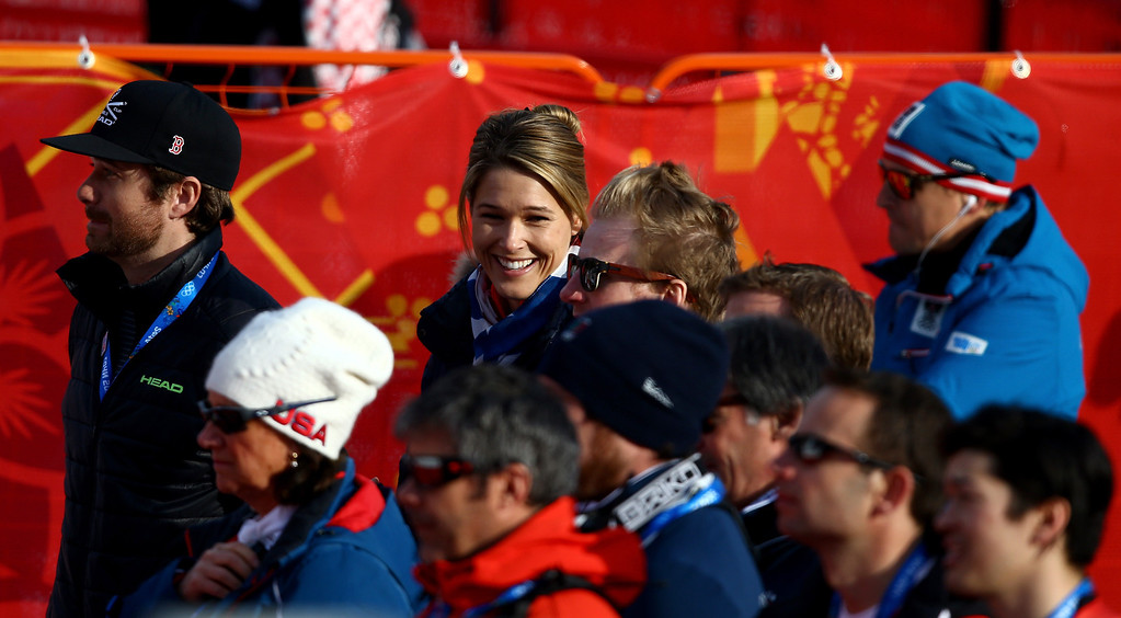 . Morgan Miller, wife of  Bode Miller of the United States smiles during the Alpine Skiing Men\'s Super-G on day 9 of the Sochi 2014 Winter Olympics at Rosa Khutor Alpine Center on February 16, 2014 in Sochi, Russia.  (Photo by Doug Pensinger/Getty Images)