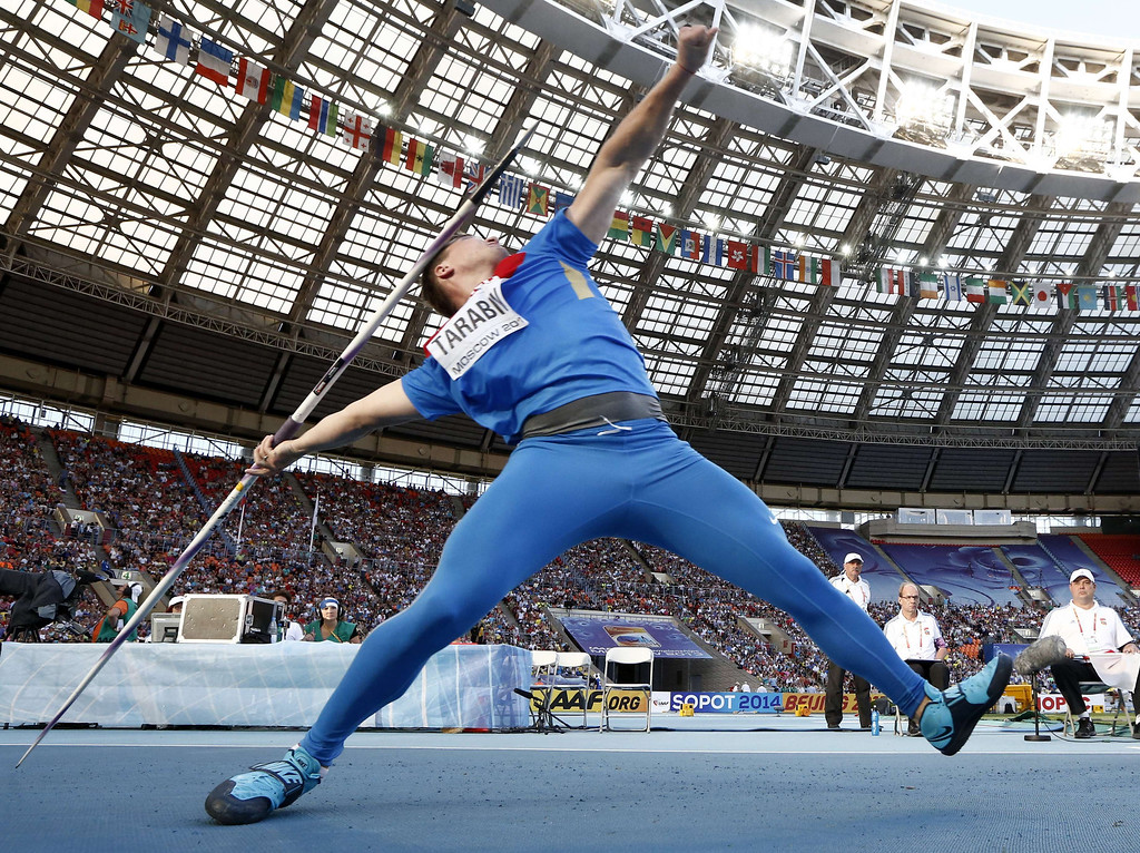 . Russia\'s Dmitri Tarabin competes in the men\'s javelin throw final at the 2013 IAAF World Championships at the Luzhniki stadium in Moscow on August 17, 2013.   FRANCK FIFE/AFP/Getty Images