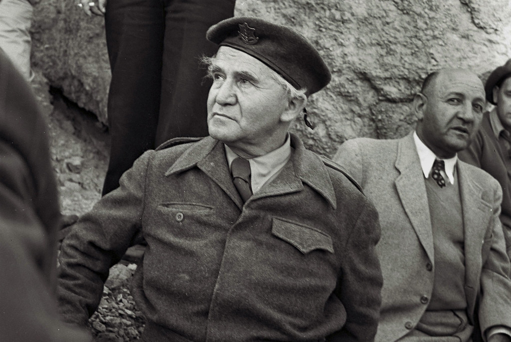 . NEGEV, ISRAEL - DECEMBER 2, 1949: David Ben Gurion, the first Prime Minister of the Jewish State, wears military uniform during a visit on December 2, 1949 to the negev desert in southern Israel. (Photo by David Eldan/GPO via Getty Images)