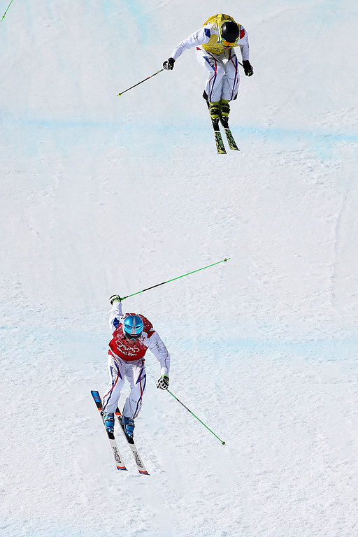 . Jean Frederic Chapuis of France finishes ahead of Jonathan Midol of France during the Freestyle Skiing Men\'s Ski Cross Semi Finals on day 13 of the 2014 Sochi Winter Olympic at Rosa Khutor Extreme Park on February 20, 2014 in Sochi, Russia.  (Photo by Streeter Lecka/Getty Images)