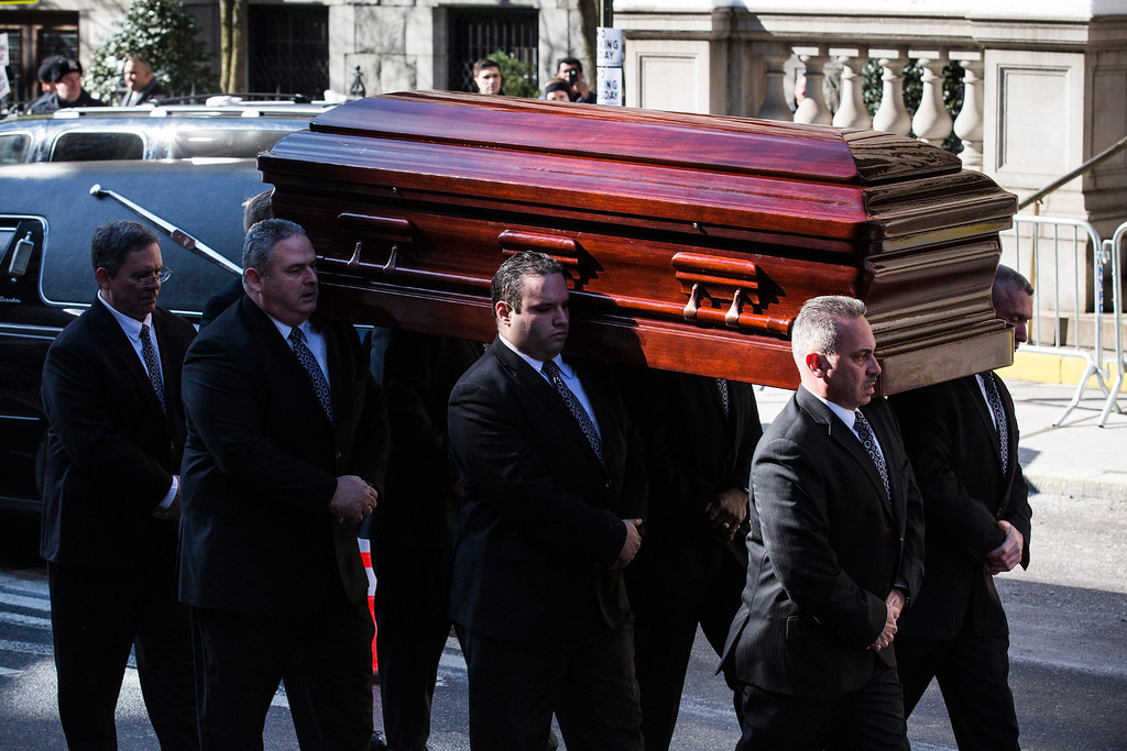 . The casket carrying actor Philip Seymour Hoffman, who died of an alleged drug overdose on February 1, 2014, arrives at St. Ignatius of Loyola Catholic Church, for Hoffman\'s funeral service on February 7, 2014 in New York City. Hoffman was allegedly found dead in his bathroom with a needle in his arm.  (Photo by Andrew Burton/Getty Images)