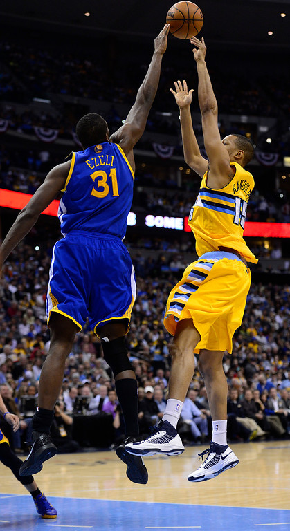 . DENVER, CO. - APRIL 23: Denver Nuggets power forward Anthony Randolph (15) has his shot blocked by Golden State Warriors center Festus Ezeli (31) in the third quarter. The Denver Nuggets took on the Golden State Warriors in Game 2 of the Western Conference First Round Series at the Pepsi Center in Denver, Colo. on April 23, 2013. (Photo by AAron Ontiveroz/The Denver Post)