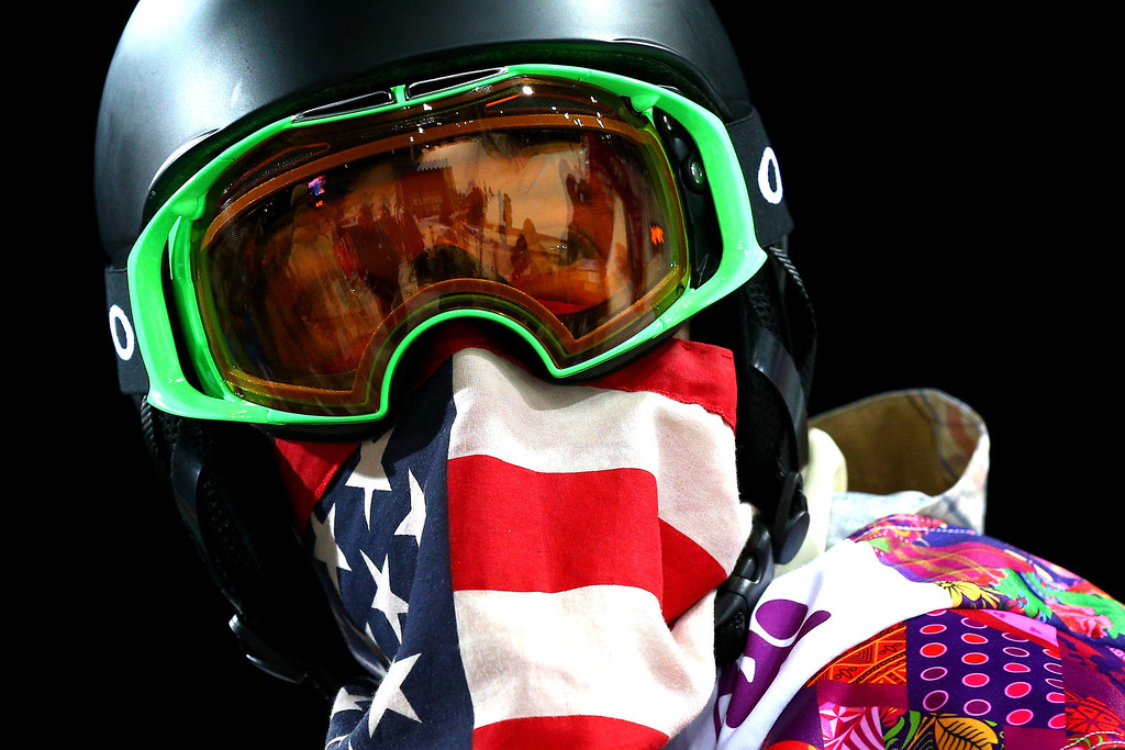 . Shaun White of the United States looks on after a practice run before the Snowboard Men\'s Halfpipe Finals on day four of the Sochi 2014 Winter Olympics at Rosa Khutor Extreme Park on February 11, 2014 in Sochi, Russia.  (Photo by Cameron Spencer/Getty Images)