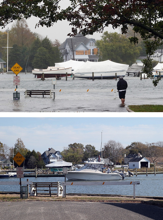 . AMITYVILLE, NY - OCTOBER 29: (top) A visitor braves the elements on a partially submerged Coles Avenue as high tide and winds flood the streets on October 29, 2012 in Amityville, New York.The storm, which threatens 50 million people in the eastern third of the U.S., is expected to bring days of rain, high winds and possibly heavy snow. AMITYVILLE, NY - OCTOBER 22: (bottom) A boat floats in the water off Coles Avenue on October 22, 2013 in Amityville, New York. Hurricane Sandy made landfall on October 29, 2012 near Brigantine, New Jersey and affected 24 states from Florida to Maine and cost the country an estimated $65 billion.  (Photos by Bruce Bennett/Getty Images)