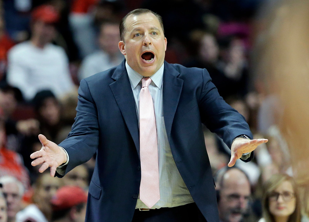 . Chicago Bulls head coach Tom Thibodeau yells at his team during the second half of an NBA preseason basketball game against the Denver Nuggets in Chicago on Friday, Oct. 25, 2013. The Bulls won 94-89. (AP Photo/Nam Y. Huh)