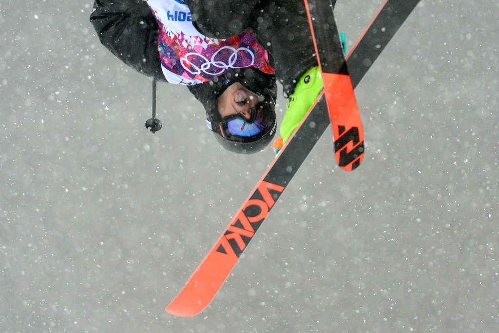 . KRASANYA POLYANA, RUSSIA - FEBRUARY 18: New Zealand\'s Lyndon Sheehan flips during the men\'s ski halfpipe final. Sochi 2014 Winter Olympics on Tuesday, February 18, 2014. (Photo by AAron Ontiveroz/The Denver Post)