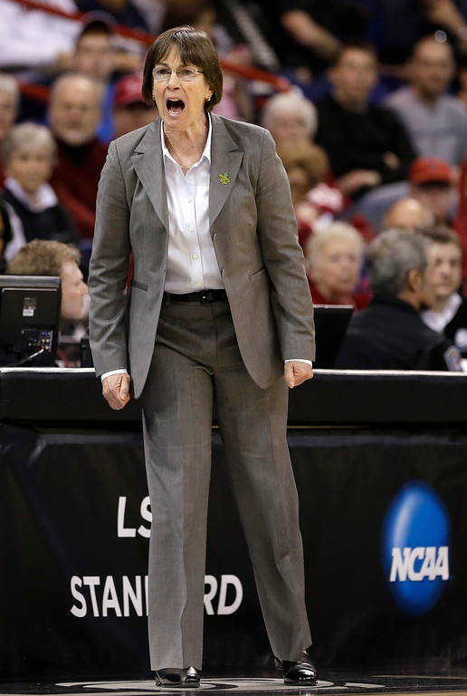 . Stanford coach Tara VanDerveer yells during the first half of Stanford\'s regional semifinal against Georgia in the NCAA women\'s college basketball tournament Saturday, March 30, 2013, in Spokane, Wash. (AP Photo/Elaine Thompson)