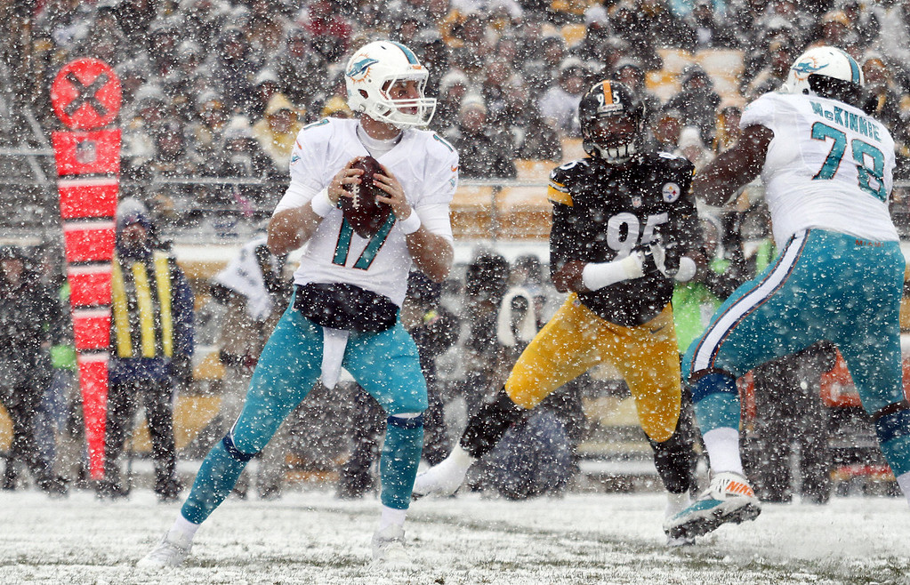 . Ryan Tannehill #17 of the Miami Dolphins drops back to pass against the Pittsburgh Steelers during the game on December 8, 2013 at Heinz Field in Pittsburgh, Pennsylvania. (Photo by Justin K. Aller/Getty Images)