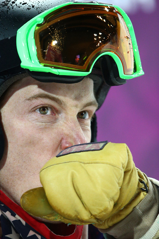 . Shaun White of the United States looks on after competing in the Snowboard Men\'s Halfpipe Finals on day four of the Sochi 2014 Winter Olympics at Rosa Khutor Extreme Park on February 11, 2014 in Sochi, Russia.  (Photo by Cameron Spencer/Getty Images)