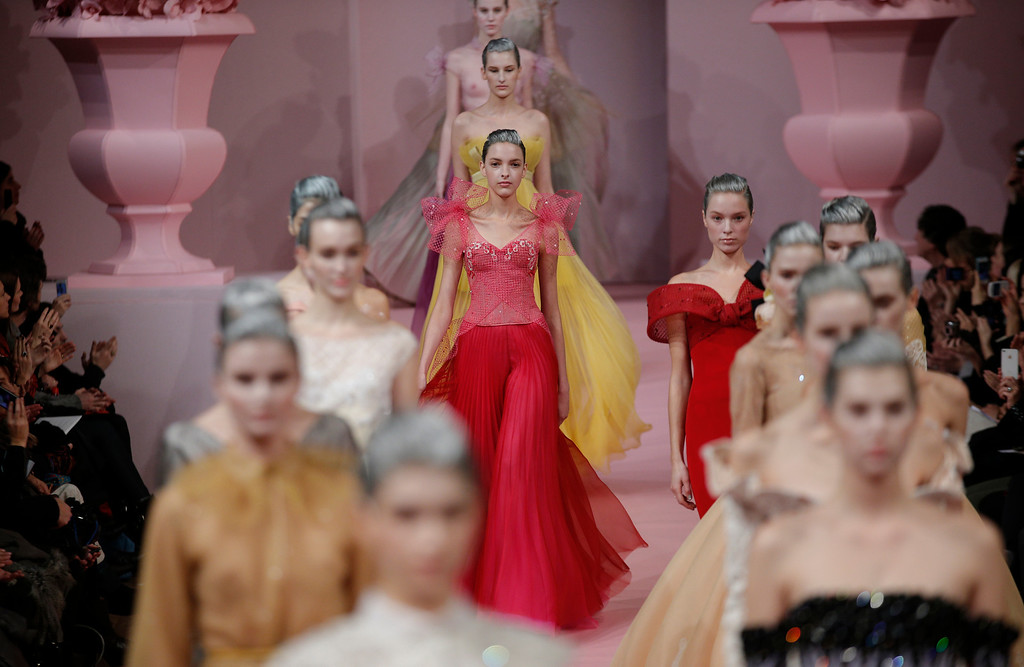 . A model presents a creation by French fashion designer Alexis Mabille for his  Spring Summer 2013 Haute Couture fashion collection, presented in Paris, Monday, Jan. 21, 2013. (AP Photo/Christophe Ena)