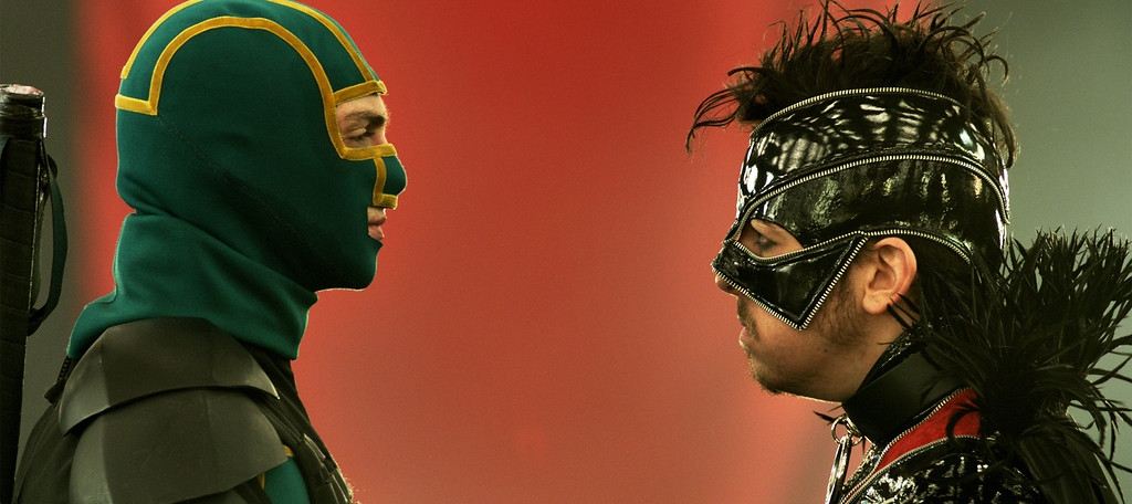 ". Kick-Ass (Aaron Taylor-Johnson) and Red Mist (Christopher Mintz-Plasse) face off in ""Kick-Ass 2.\"" Provided by Universal."