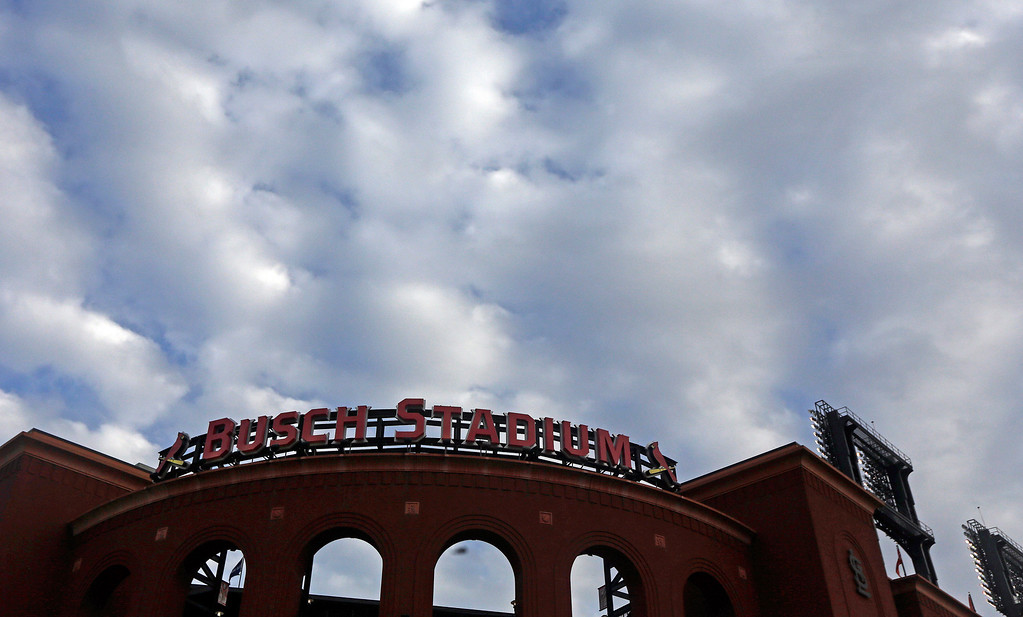 . Busch Stadium is seen as clouds roll in before Game 6 of the National League baseball championship series between the St. Louis Cardinals and the Los Angeles Dodgers, Friday, Oct. 18, 2013, in St. Louis. (AP Photo/Jeff Roberson)