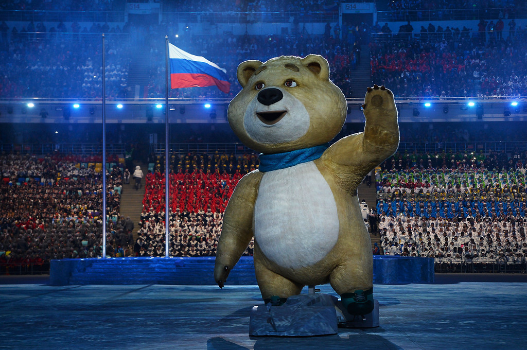 . Olympic mascots the Polar Bear waves during the Opening Ceremony of the Sochi 2014 Winter Olympics at Fisht Olympic Stadium on February 7, 2014 in Sochi, Russia.  (Photo by Pascal Le Segretain/Getty Images)