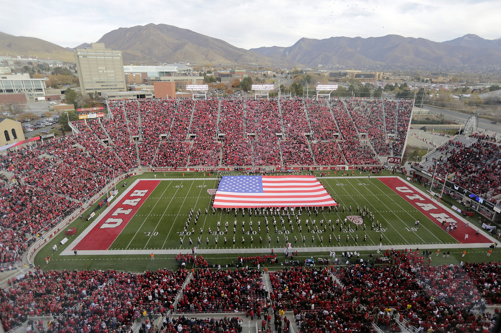 . Veterans were honored by the unfurling of a U.S. flag at halftime during an NCAA college football game between Arizona State and Utah on Saturday, Nov. 9, 2013, at Rice-Eccles Stadium, in Salt Lake City.  (AP Photo/Rick Bowmer)