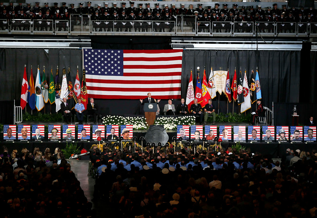 . U.S. Vice President Joe Biden speaks at a memorial service for the fallen members of the Granite Mountain Hotshots, in Prescott Valley, Arizona July 9, 2013.  REUTERS/Lucy Nicholson