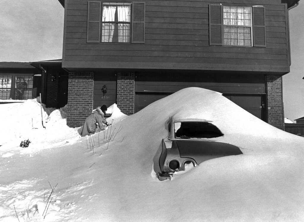 . Amy Prieto having fun climbing  huge snow drifts in front of her home in Thornton after the Blizzard of \'82. John Prieto, The Denver Post