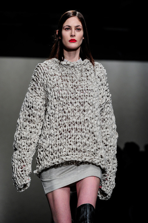 . A model wears a creation for A.F. Vandevorst\'s ready-to-wear fall/winter 2014-2015 fashion collection presented in Paris, Friday, Feb.28, 2014. (AP Photo/Zacharie Scheurer)