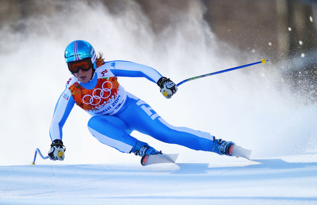 . Elena Fanchini of Italy skis during the Alpine Skiing Women\'s Downhill on day 5 of the Sochi 2014 Winter Olympics at Rosa Khutor Alpine Center on February 12, 2014 in Sochi, Russia.  (Photo by Clive Rose/Getty Images)