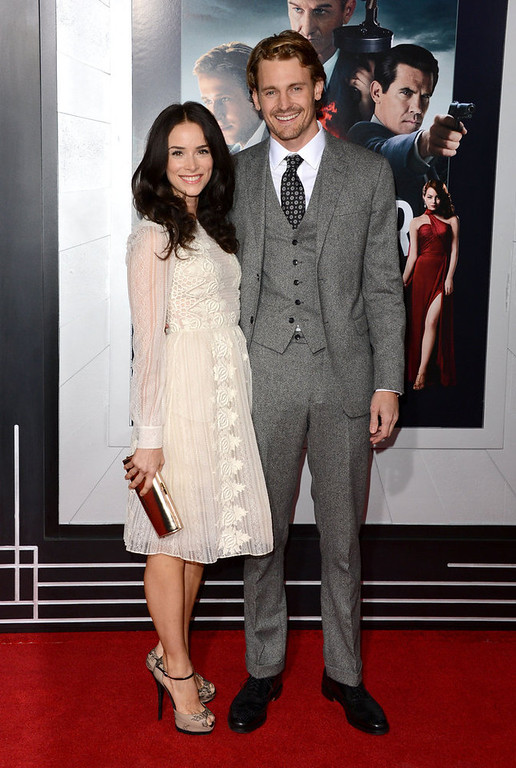 """. Actors Abigail Spencer and Josh Pence arrive at Warner Bros. Pictures\' \""""Gangster Squad\"""" premiere at Grauman\'s Chinese Theatre on January 7, 2013 in Hollywood, California.  (Photo by Jason Merritt/Getty Images)"""