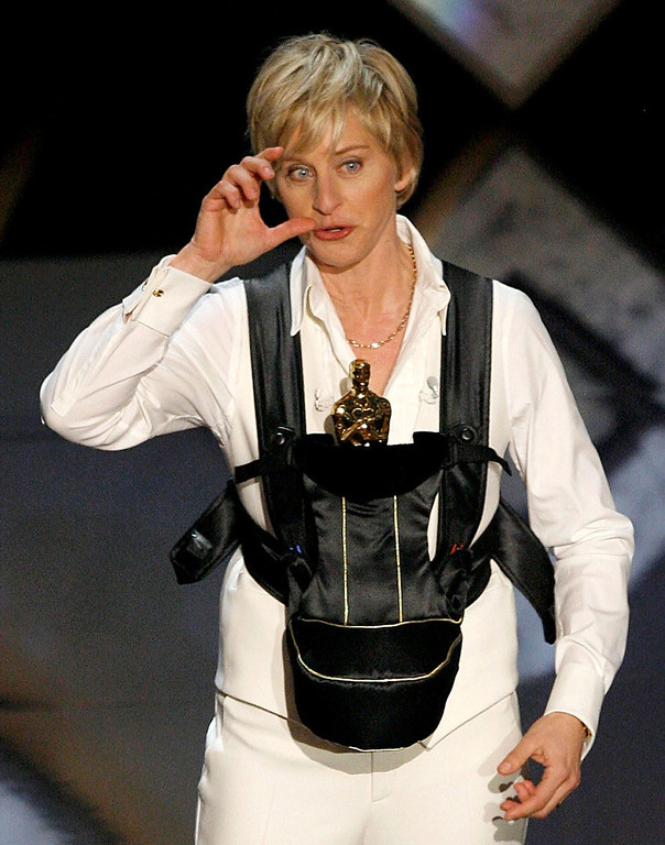 . Host Ellen DeGeneres wears an oscar onstage during the 79th Annual Academy Awards at the Kodak Theatre on February 25, 2007 in Hollywood, California.  (Photo by Kevin Winter/Getty Images)