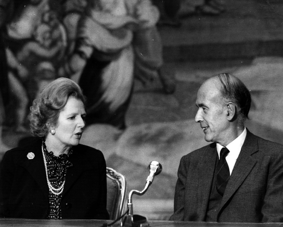 . British Conservative Prime Minister, Margaret Thatcher, with French President Valery Giscard d\'Estaing at a press conference.  (Photo by Keystone/Getty Images)