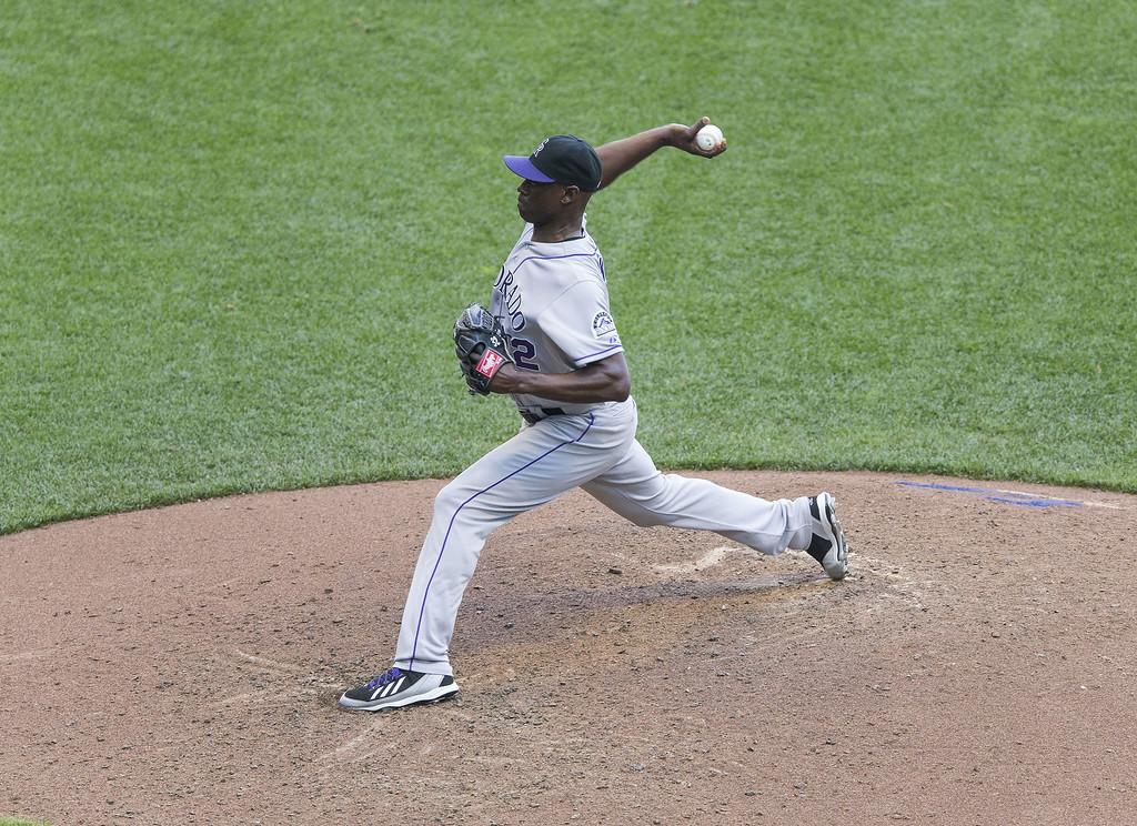 . LaTroy Hawkins #32 of the Colorado Rockies pitches against the Milwaukee Brewers at Miller Park on June 29, 2014 in Milwaukee, Wisconsin.  (Photo by Tom Lynn/Getty Images)