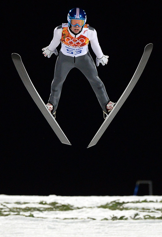 . Austria\'s Thomas Diethart competes during the trial jump of the Men\'s Ski Jumping Large Hill Individual qualification at the RusSki Gorki Jumping Center during the Sochi Winter Olympics on February 14, 2014 in Rosa Khutor near Sochi.  AFP PHOTO / PETER PARKS/AFP/Getty Images