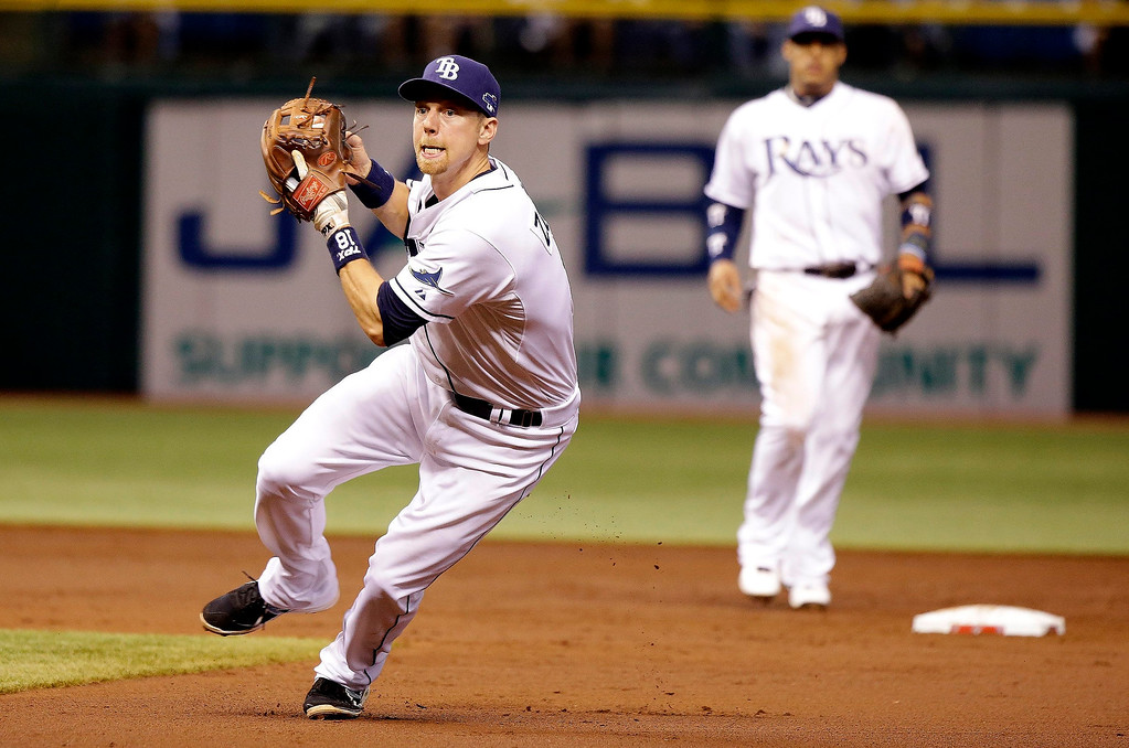 . Tampa Bay Rays second baseman Ben Zobrist (18) completes a double play in the 3rd inning during Game 4 of the American League Division Series playoffs against the Boston Red Sox at Tropicana Field in St. Petersburg, Florida, on Tuesday, October 8, 2013. (Dirk Shadd/Tampa Bay Times/MCT)