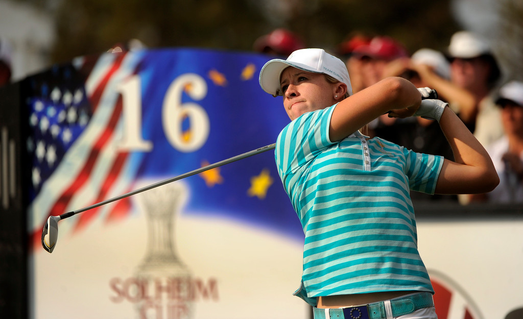 . PARKER, CO. - AUGUST 17: English golfer Jodi Ewart-Shadoff watched her tee shot on #16 Saturday at the Solheim Cup. It was the American Team versus the Europeans as play continued at the Colorado Golf Club Saturday afternoon, August 17, 2013. Photo By Karl Gehring/The Denver Post