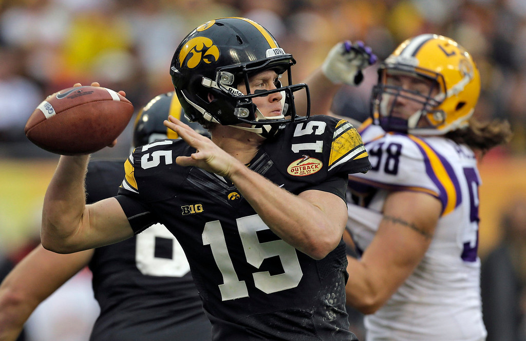 . Iowa quarterback Jake Rudock (15) throws a pass despite pressure from LSU defensive end Jordan Allen (98) during the second quarter of the Outback Bowl NCAA college football game Wednesday, Jan. 1, 2014, in Tampa, Fla. (AP Photo/Chris O\'Meara)