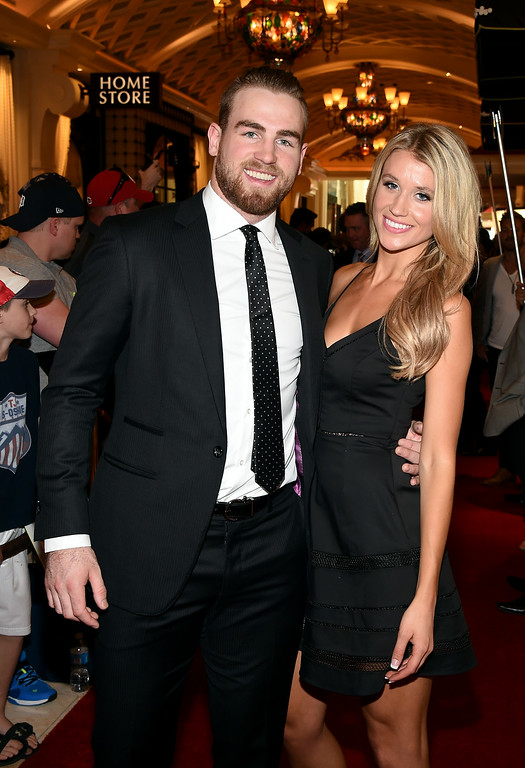 . Ryan O\'Reilly of the Colorado Avalanche and guest arrive on the red carpet prior to the 2014 NHL Awards at Encore Las Vegas on June 24, 2014 in Las Vegas, Nevada.  (Photo by Ethan Miller/Getty Images)
