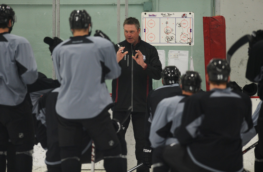 . CENTENNIAL FEBRUARY 20: Colorado Avalanche head coach Patrick Roy, center, is in the team practice at Family Sports Ice Arena. Centennial, Colorado. February 20. 2014. (Photo by Hyoung Chang/The Denver Post)