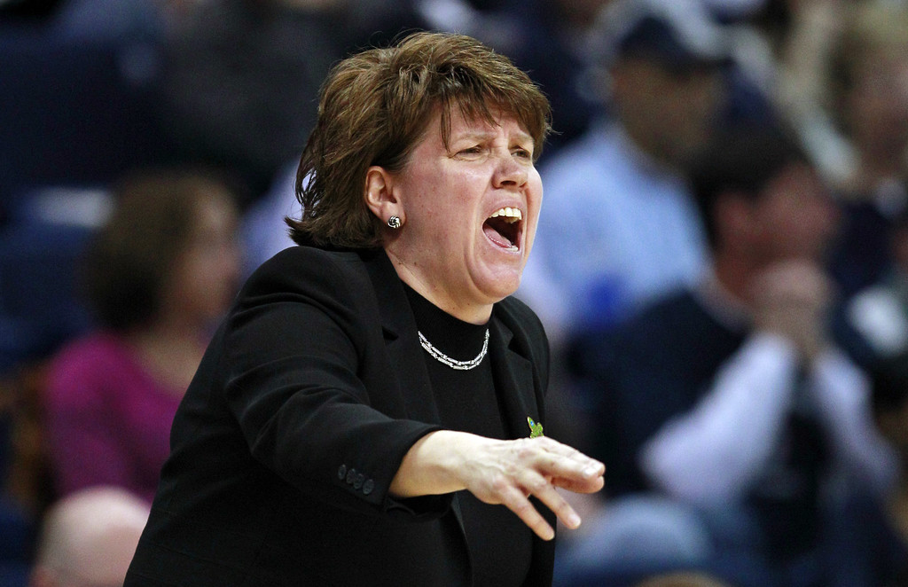 . Delaware head coach Tina Martin calls to her players during the first half of a regional semifinal in the women\'s NCAA college basketball tournament against Kentucky in Bridgeport, Conn., Saturday, March 30, 2013. (AP Photo/Charles Krupa)