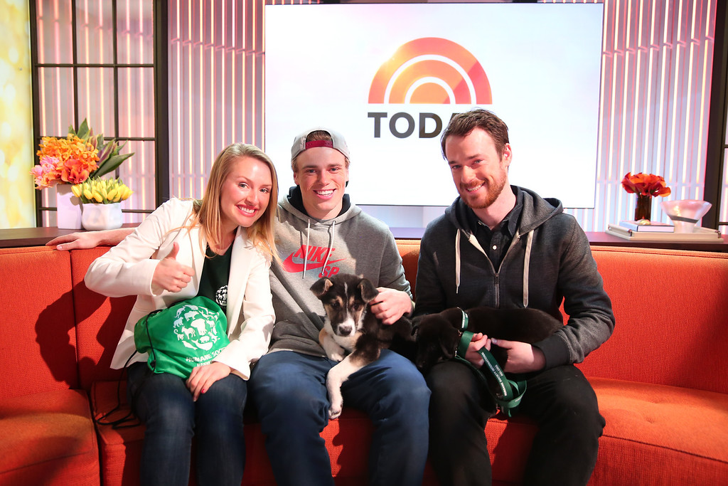 . In this image released on Friday, March 14, 2014, Sochi Dogs make an appearance on the Today Show with owners Winter Olympic silver medalist Gus Kenworthy and Robin Macdonald. Masha Kalinina, International Trade Policy specialist for Humane Society International, sits with them.  (Christopher Lane/AP Images for Humane Society International)
