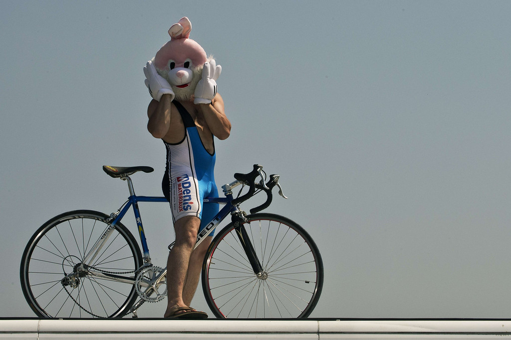 . A supporter wearing a rabbit mask stands along the road during the 197 km tenth stage of the 100th edition of the Tour de France cycling race on July 9, 2013 between Saint-Gildas-des-Bois and Saint-Malo, northwestern France.    JOEL SAGET/AFP/Getty Images
