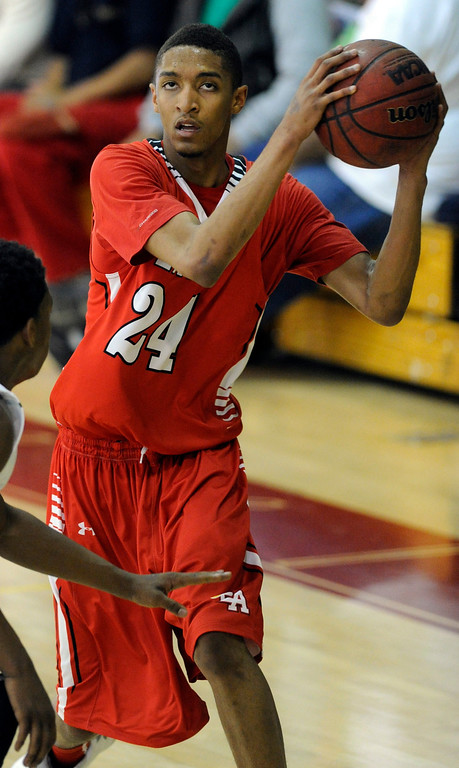 . DENVER, CO. - FEBRUARY 16: Angels guard Dominique Collier (24) made a move to get open in the first quarter. The Denver East High School boy\'s basketball team defeated George Washington 82-20 Saturday afternoon, February 16, 2013.  (Photo By Karl Gehring/The Denver Post)