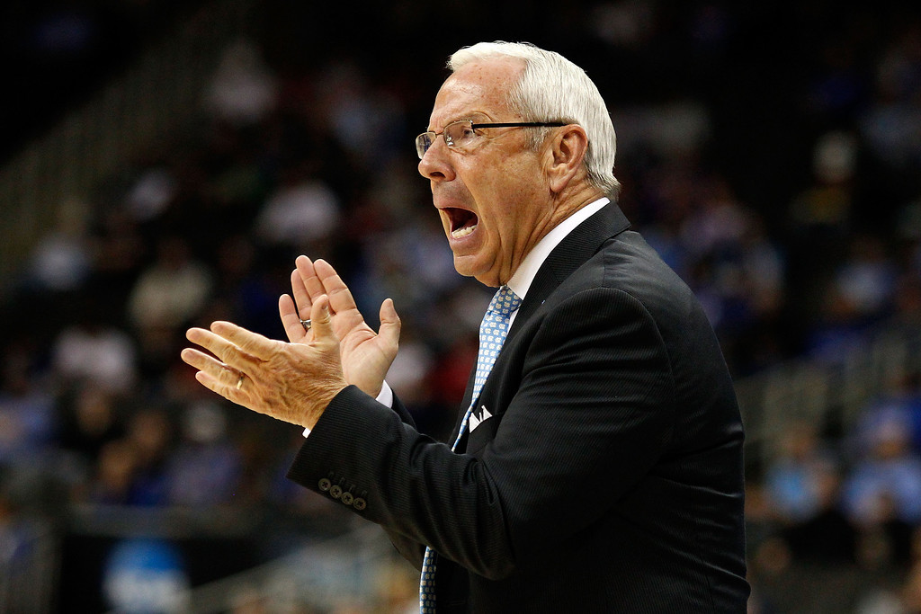 . KANSAS CITY, MO - MARCH 22:  Head coach Roy Williams of the North Carolina Tar Heels reacts in the first half against the Villanova Wildcats during the second round of the 2013 NCAA Men\'s Basketball Tournament at the Sprint Center on March 22, 2013 in Kansas City, Missouri.  (Photo by Ed Zurga/Getty Images)
