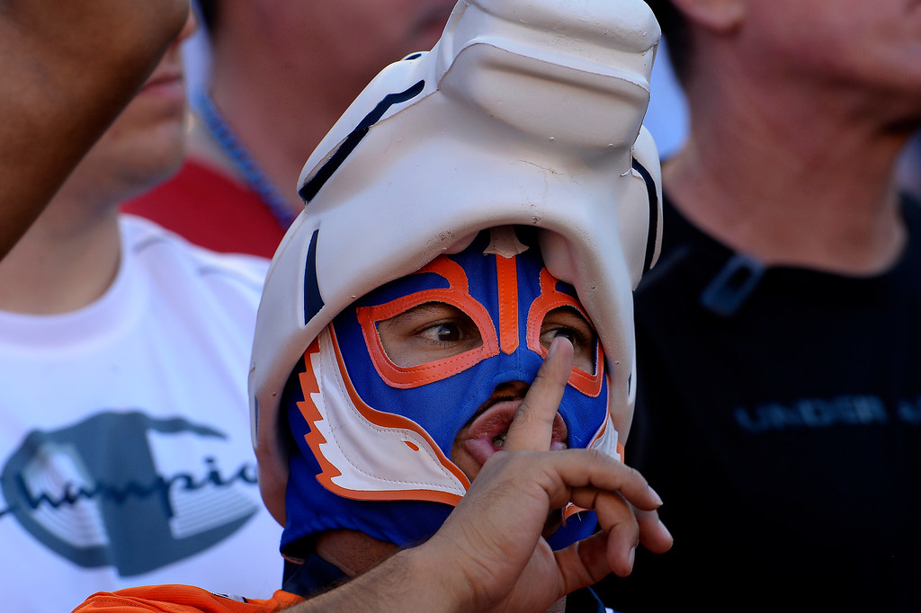 . A Denver fan trying to quite the crowd in the 4th quarter vs the San Diego Chargers at Qualcomm Stadium November 10, 2013 San Diego, CA. (Photo By Joe Amon/The Denver Post)