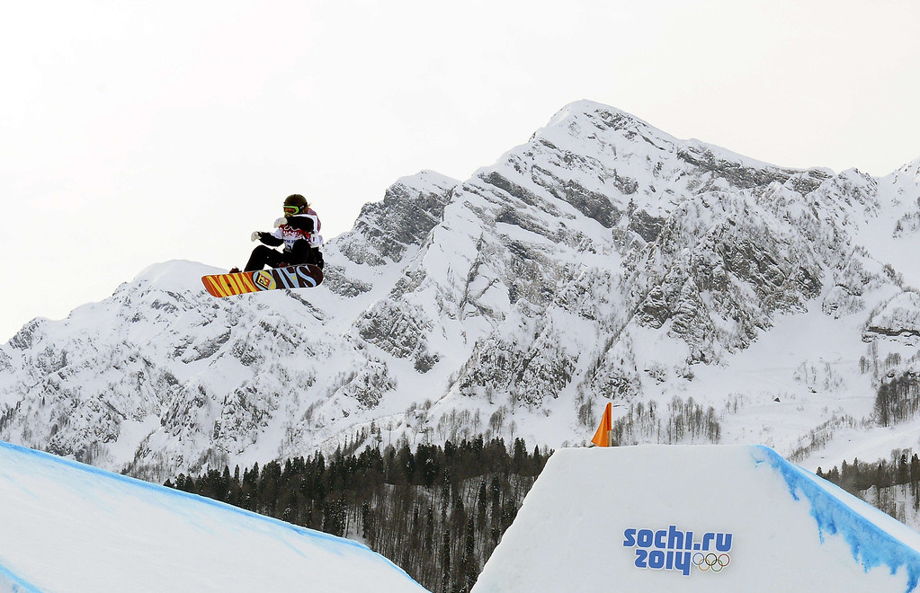 . Great Britain\'s Jenny Jones competes in the Women\'s Snowboard Slopestyle Final at the Rosa Khutor Extreme Park during the Sochi Winter Olympics on February 9, 2014. Jones won the Bronze Medal. FRANCK FIFE/AFP/Getty Images