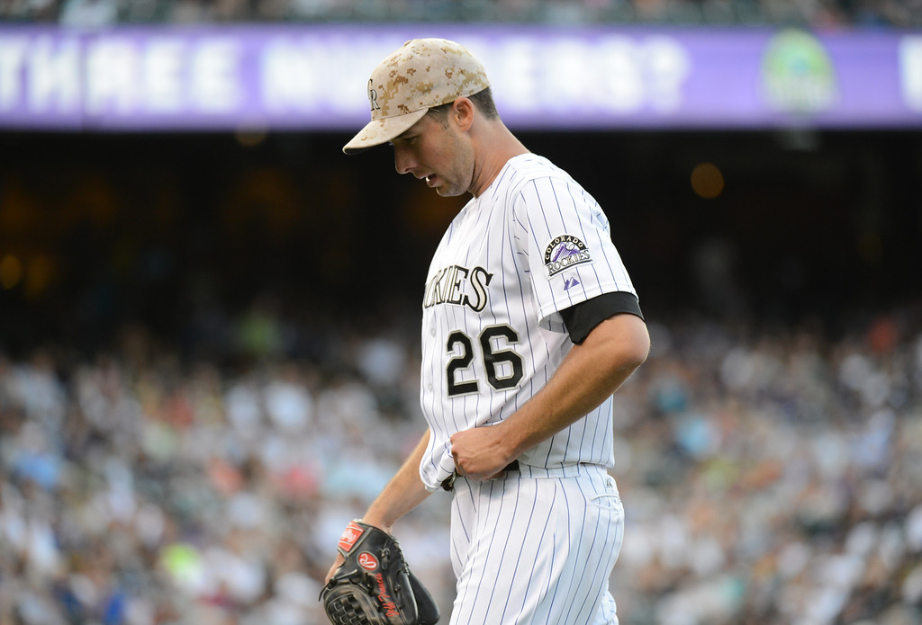 . Denver, CO. - June 08: Jeff Francis of Colorado Rockies (23) is in the 3rd inning of the game against San Diego Padres at Coors Field. Denver, Colorado. June 8, 2013. Francis pitched 4 innings of the game. (Photo By Hyoung Chang/The Denver Post)