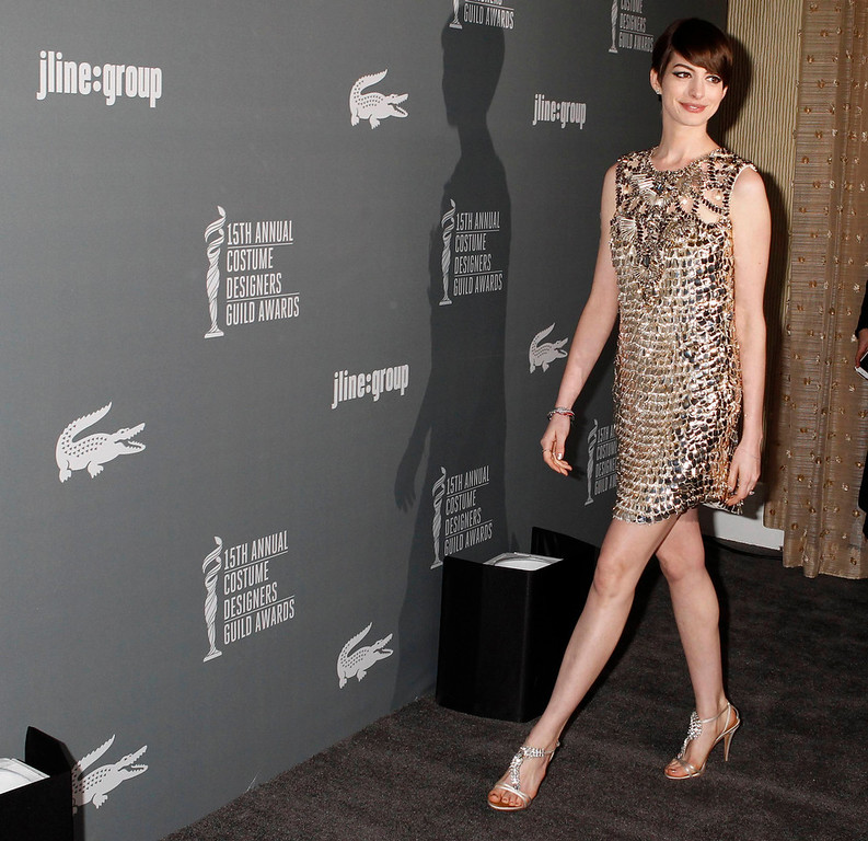 ". Anne Hathaway, Oscar nominee as Best Supporting Actress for ""Les Miserables\"" arrives at the 15th Annual Costume Designers Guild Awards in Beverly Hills February 19, 2013.  REUTERS/Fred Prouser"