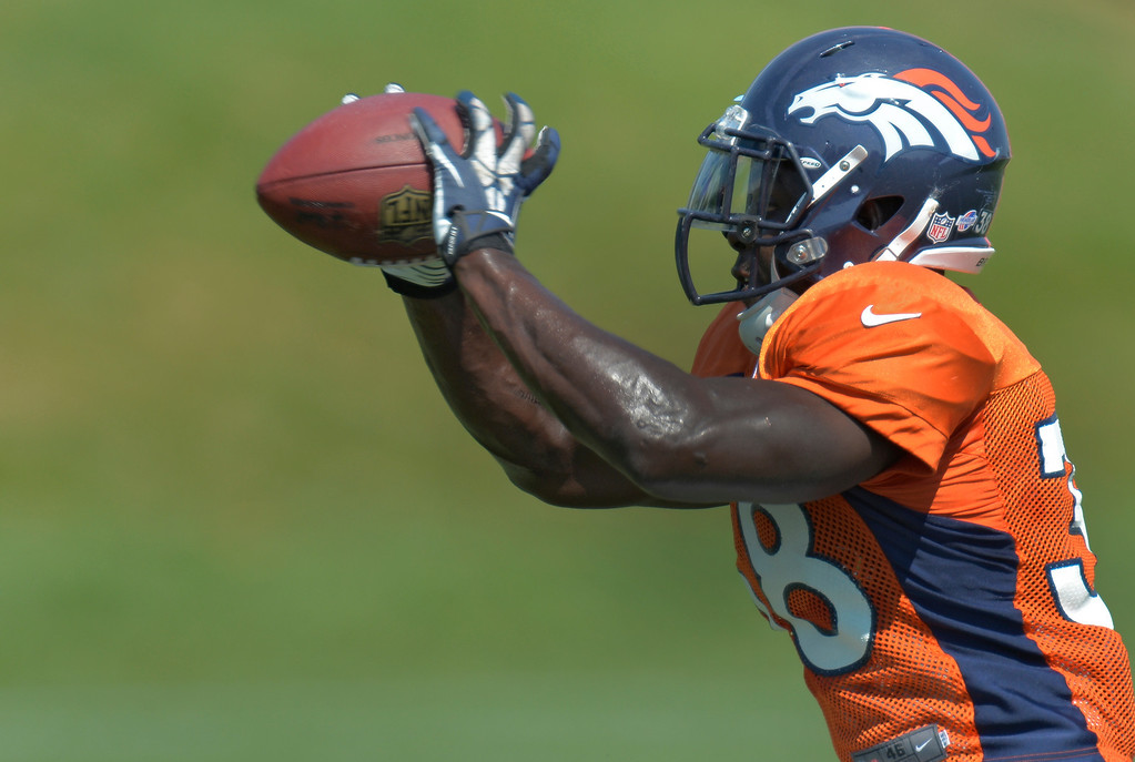 . Denver Broncos running back Montee Ball (38) catches a pass during practice August 20, 2013 at Dove Valley (Photo by John Leyba/The Denver Post)