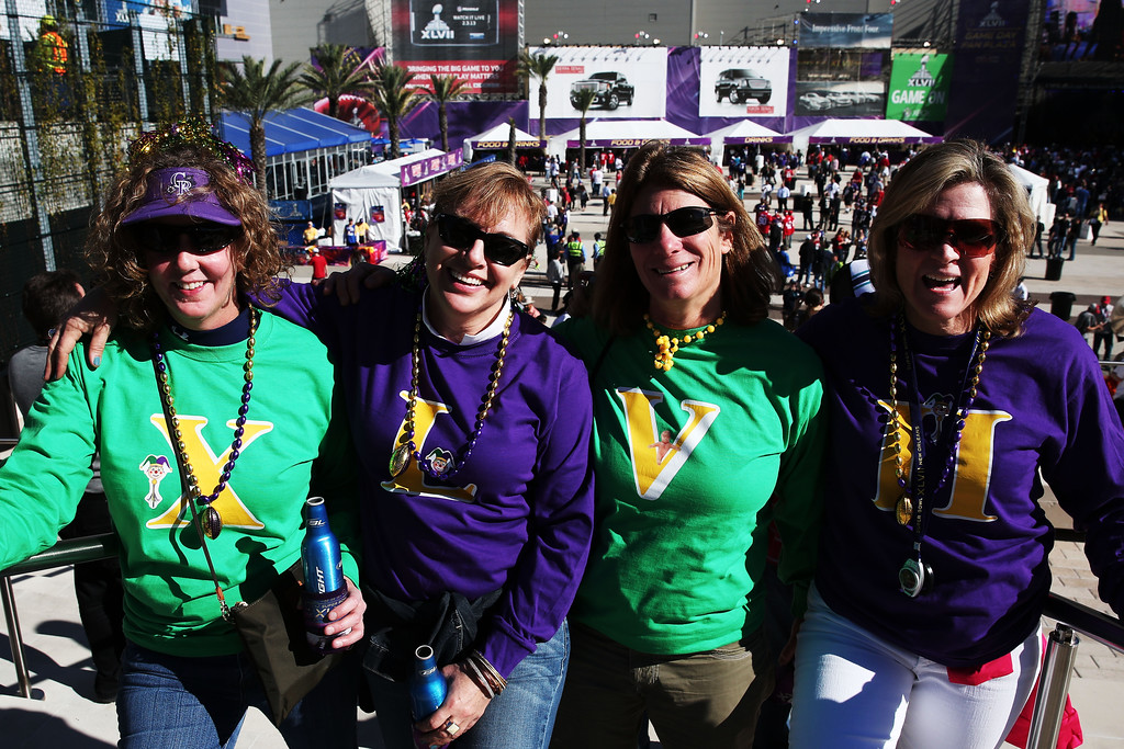 . (L-R) Sue Weber, Tracy Heaberlin, Jan Levy and Danielle Gallagher, fans of the Baltimore Ravens, show support for their team outside the stadium prior to Super Bowl XLVII against the San Francisco 49ers at the Mercedes-Benz Superdome on February 3, 2013 in New Orleans, Louisiana.  (Photo by Win McNamee/Getty Images)