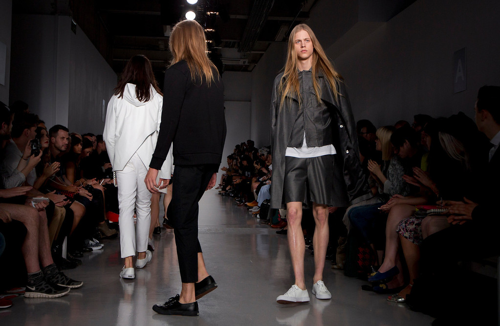 . Models wear creations by designer Matthew Miller during London Men\'s spring summer fashion collections 2014, in London, Tuesday, June 18, 2013. (Photo by Joel Ryan/Invision/AP)