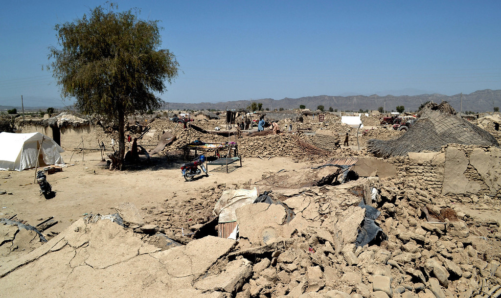 . A general view of destroyed homes following an earthquake in the remote district of Awaran, Baluchistan province, Pakistan, Wednesday, Sept. 25, 2013.  (AP Photo/Arshad Butt)