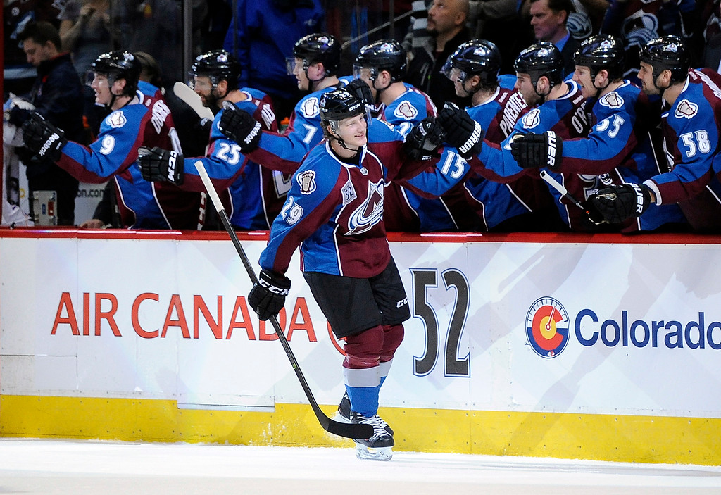 . Colorado Avalanche center Nathan MacKinnon celebrates his goal in the third period of an NHL hockey game against the Montreal Canadiens, Saturday, Nov. 2, 2013, in Denver. The Avalanche won 4-1. (AP Photo/Chris Schneider)