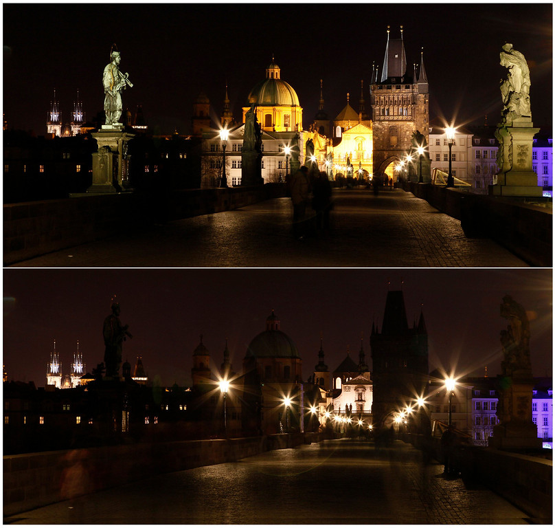 . A combination of pictures shows the medieval Charles Bridge in Prague before (top) and during Earth Hour March 23, 2013. Earth Hour, when everyone around the world is asked to turn off lights for an hour from 8.30 p.m. local time, is meant as a show of support for tougher action to confront climate change.              REUTERS/Petr Josek